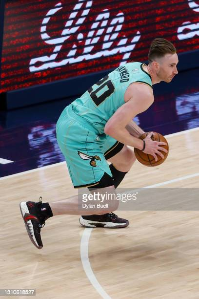 Gordon Hayward of the Charlotte Hornets handles the ball in the first quarter against the Indiana Pacers at Bankers Life Fieldhouse on April 02, 2021...