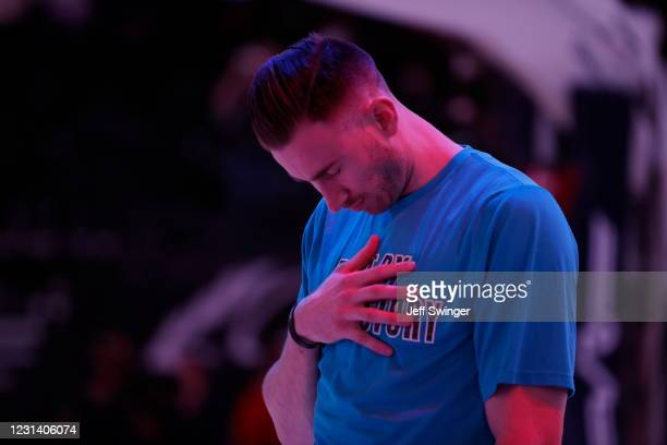 Gordon Hayward of the Charlotte Hornets listens to the national anthem before the game against the Utah Jazz on February 22, 2021 at vivint.SmartHome...