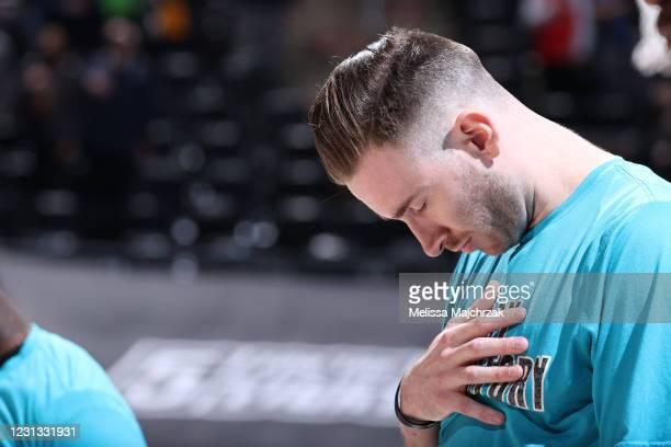 Gordon Hayward of the Charlotte Hornets looks on before the game against the Utah Jazz on February 22, 2021 at vivint.SmartHome Arena in Salt Lake...