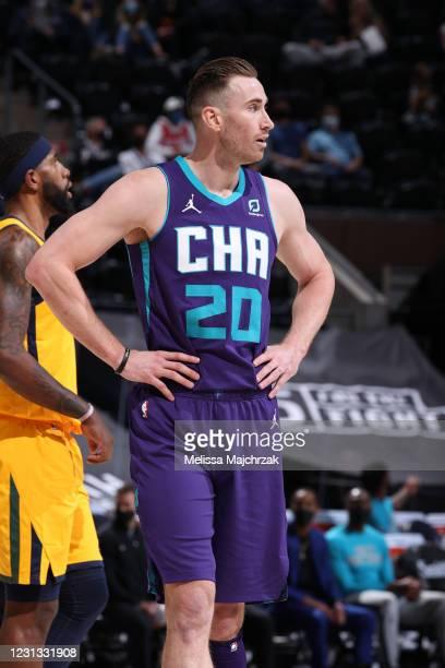 Gordon Hayward of the Charlotte Hornets looks on during the game against the Utah Jazz on February 22, 2021 at vivint.SmartHome Arena in Salt Lake...