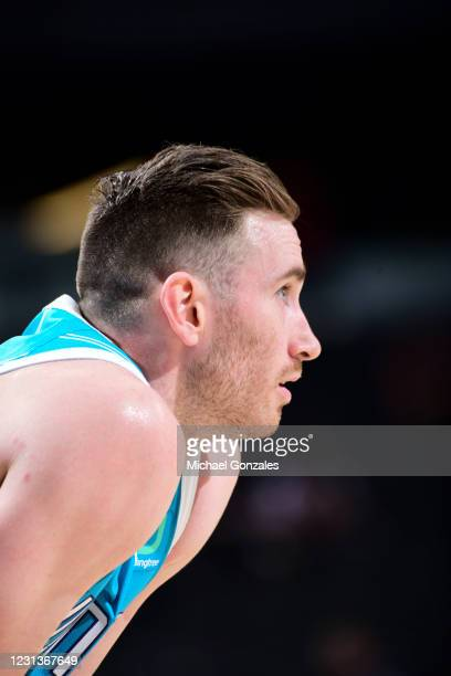 Gordon Hayward of the Charlotte Hornets looks on during the game against the Phoenix Suns on February 24, 2021 at Talking Stick Resort Arena in...