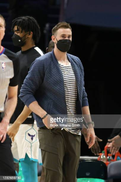 Gordon Hayward of the Charlotte Hornets looks on during the game against the Miami Heat on May 2, 2021 at Spectrum Center in Charlotte, North...