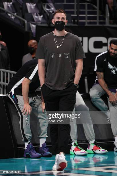 Gordon Hayward of the Charlotte Hornets looks on during the game against the Orlando Magic on May 7, 2021 at Spectrum Center in Charlotte, North...