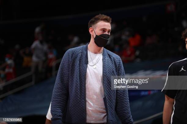 Gordon Hayward of the Charlotte Hornets looks on during the game against the Washington Wizards on May 16, 2021 at Capital One Arena in Washington,...