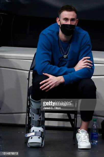Gordon Hayward of the Charlotte Hornets looks on from the sideline during the second quarter of their game against the Milwaukee Bucks at Spectrum...