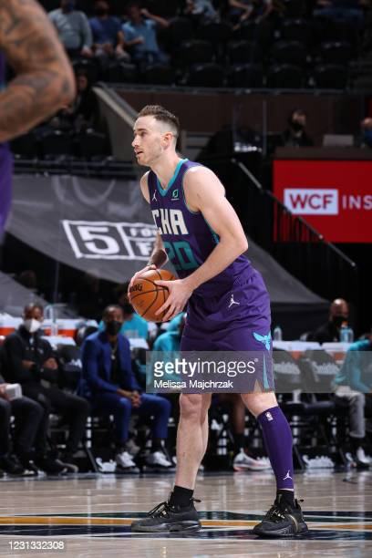 Gordon Hayward of the Charlotte Hornets looks to pass the ball during the game against the Utah Jazz on February 22, 2021 at vivint.SmartHome Arena...