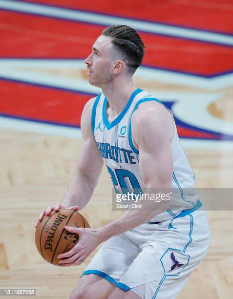 Gordon Hayward of the Charlotte Hornets looks to shoot during the second half against the Brooklyn Nets at Barclays Center on April 01, 2021 in the...