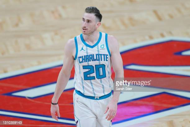 Gordon Hayward of the Charlotte Hornets reacts during the second half against the Brooklyn Nets at Barclays Center on April 01, 2021 in the Brooklyn...