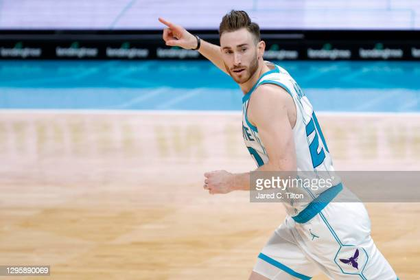 Gordon Hayward of the Charlotte Hornets reacts following a three point basket during the fourth quarter of their game against the New York Knicks at...