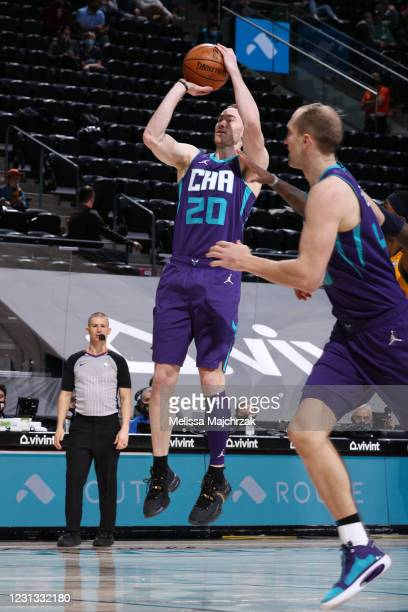 Gordon Hayward of the Charlotte Hornets shoots a three point basket during the game against the Utah Jazz on February 22, 2021 at vivint.SmartHome...