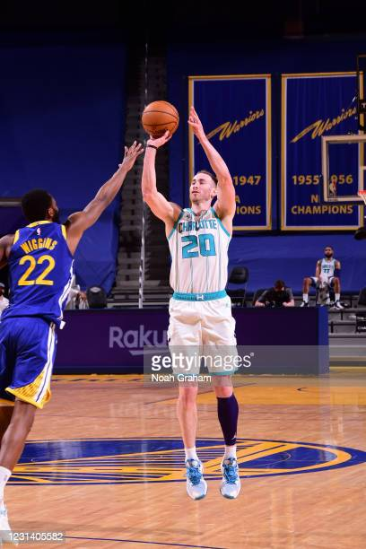 Gordon Hayward of the Charlotte Hornets shoots a three point basket during the game against the Golden State Warriors on February 26, 2021 at Chase...