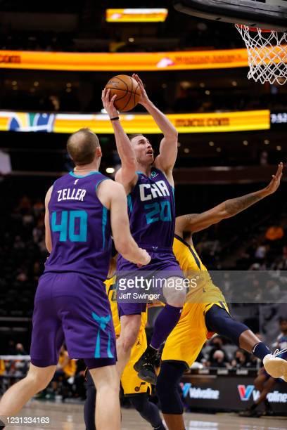 Gordon Hayward of the Charlotte Hornets shoots the ball against the Utah Jazz on February 22, 2021 at vivint.SmartHome Arena in Salt Lake City, Utah....