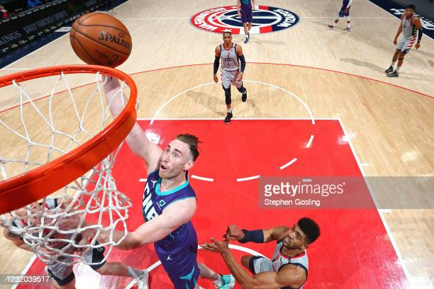 Gordon Hayward of the Charlotte Hornets shoots the ball against the Washington Wizards on March 30, 2021 at Capital One Arena in Washington, DC. NOTE...