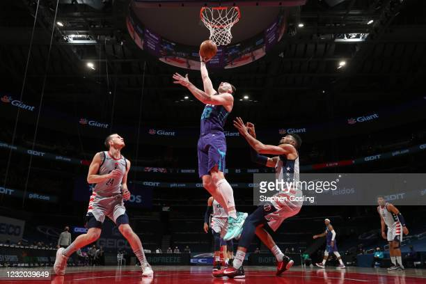 Gordon Hayward of the Charlotte Hornets shoots the ball against the Charlotte Hornets on March 30, 2021 at Capital One Arena in Washington, DC. NOTE...