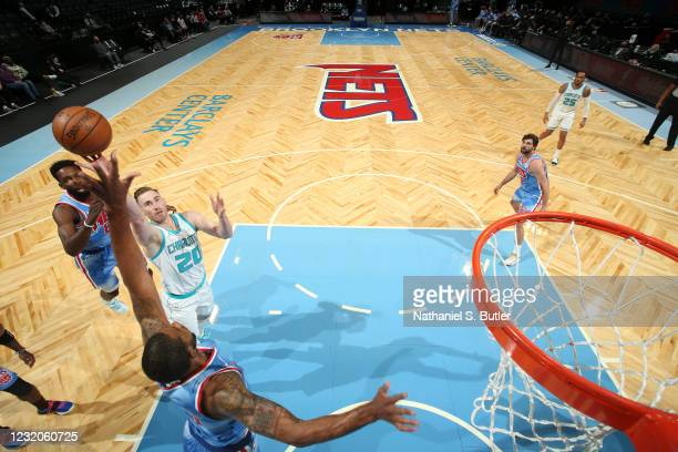 Gordon Hayward of the Charlotte Hornets shoots the ball during the game against the Brooklyn Nets on April 1, 2021 at Barclays Center in Brooklyn,...