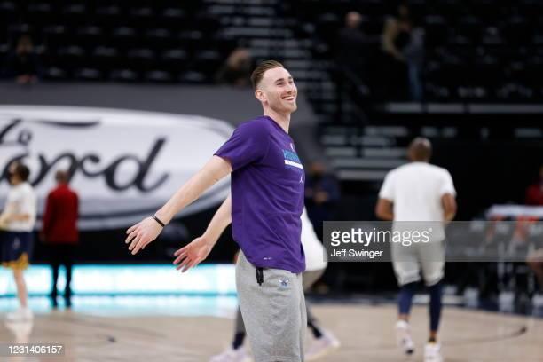 Gordon Hayward of the Charlotte Hornets smiles before the game against the Utah Jazz on February 22, 2021 at vivint.SmartHome Arena in Salt Lake...