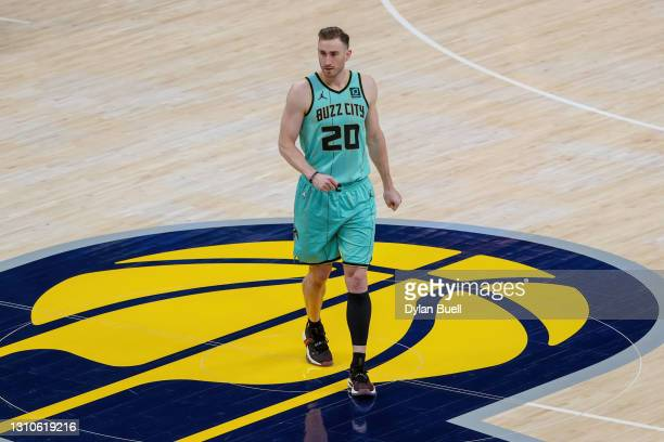 Gordon Hayward of the Charlotte Hornets walks across the court before the game against the Indiana Pacers at Bankers Life Fieldhouse on April 02,...