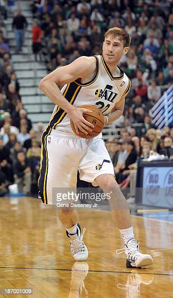 Gordon Hayward of the Utah Jazz catches a pass during their game against the Oklahoma City Thunder at EnergySolutions Arena October 30 2013 in Salt...