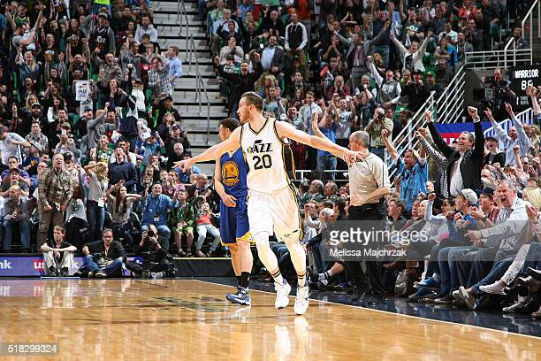 Gordon Hayward of the Utah Jazz celebrates during the game against the Golden State Warriors on March 30 2016 at vivintSmartHome Arena in Salt Lake...