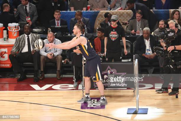 94125b275 Gordon Hayward of the Utah Jazz competes in the Taco Bell Skills Challenge  during State Farm
