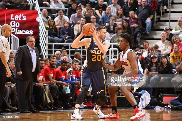 Gordon Hayward of the Utah Jazz defends the ball against the Detroit Pistons during the game on January 25 2016 at Vivint Smart Home Arena in Salt...