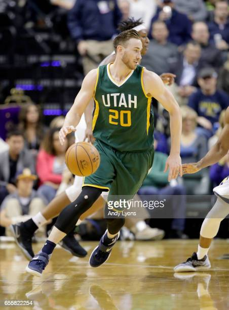 Gordon Hayward of the Utah Jazz dribbles the ball against the Indiana Pacers at Bankers Life Fieldhouse on March 20 2017 in Indianapolis Indiana NOTE...