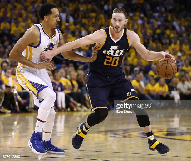 Gordon Hayward of the Utah Jazz drives against Shaun Livingston of the Golden State Warriors during Game Two of the NBA Western Conference SemiFinals...