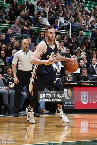 Gordon Hayward of the Utah Jazz drives against the Detroit Pistons during the game on JANUARY 25 2016 at Vivint Smart Home Arena in Salt Lake City...