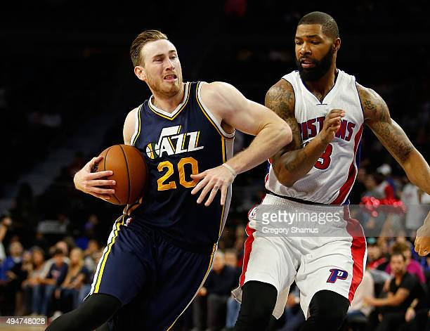 Gordon Hayward of the Utah Jazz drives around Marcus Morris of the Detroit Pistons during the second half at the Palace of Auburn Hills on October 28...