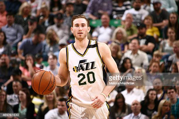 Gordon Hayward of the Utah Jazz drives to the basket against the Memphis Grizzlies during the game on April 10 2015 at EnergySolutions Arena in Salt...