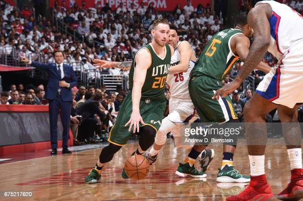 Gordon Hayward of the Utah Jazz drives to the basket against the LA Clippers during Game Seven of the Western Conference Quarterfinals of the 2017...
