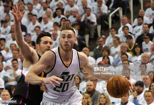 Gordon Hayward of the Utah Jazz drives to the basket past JJ Redick of the Los Angeles Clippers in the first half in Game Six of the Western...