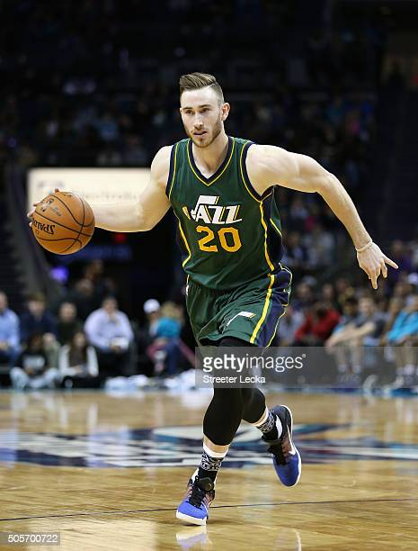 Gordon Hayward of the Utah Jazz during their game at Time Warner Cable Arena on January 18 2016 in Charlotte North Carolina NOTE TO USER User...