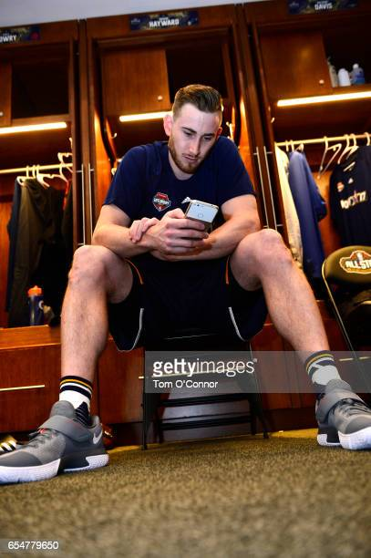 Gordon Hayward of the Utah Jazz gets ready before State Farm AllStar Saturday Night on February 18 2017 at the Smoothie King Center in New Orleans...