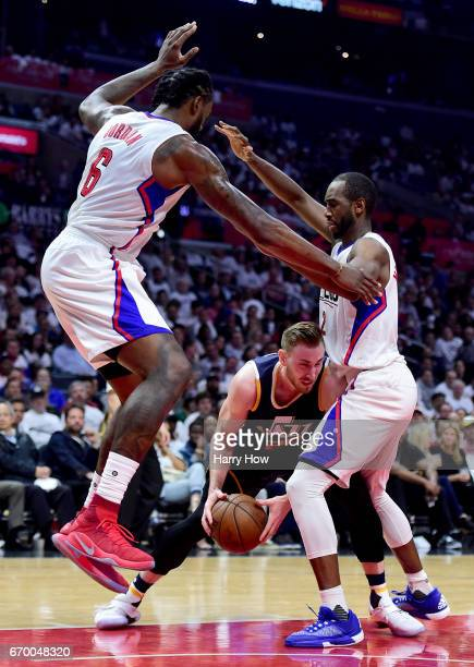 Gordon Hayward of the Utah Jazz gets trapped by DeAndre Jordan and Luc Mbah a Moute of the LA Clippers during a 9991 Clippers win in Game Two of the...