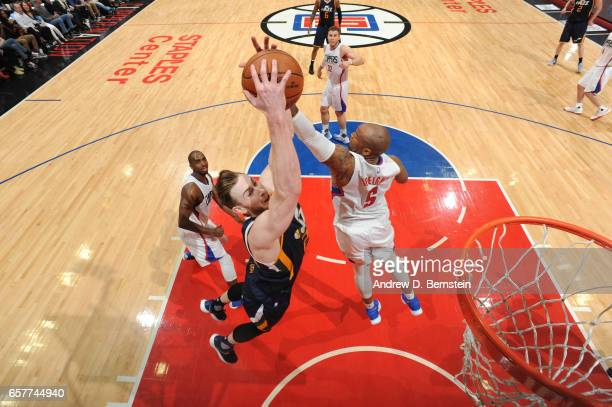 Gordon Hayward of the Utah Jazz goes up for a dunk during a game against the LA Clippers on March 25 2017 at STAPLES Center in Los Angeles California...
