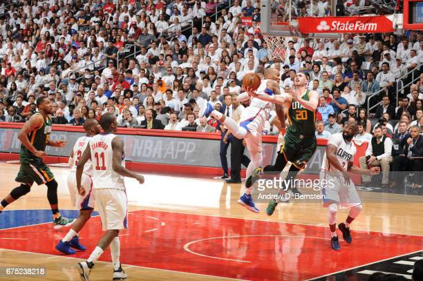 Gordon Hayward of the Utah Jazz goes up for a shot against the LA Clippers during Game Seven of the Western Conference Quarterfinals of the 2017 NBA...
