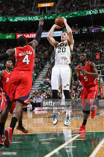 Gordon Hayward of the Utah Jazz goes up for a shot against the Atlanta Hawks on January 2 2015 at EnergySolutions Arena in Salt Lake City Utah NOTE...