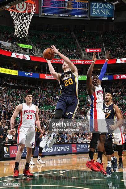 Gordon Hayward of the Utah Jazz grabs the rebound against the Detroit Pistons during the game on JANUARY 25 2016 at Vivint Smart Home Arena in Salt...