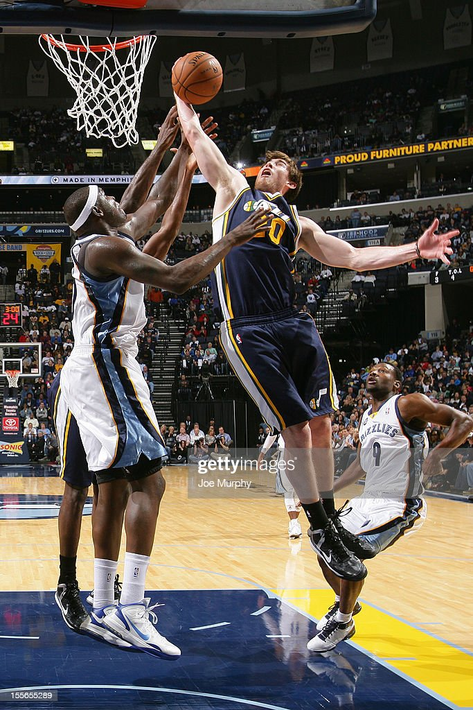 Gordon Hayward #20 of the Utah Jazz grabs the rebound against the Memphis Grizzlies on November 5, 2012 at FedExForum in Memphis, Tennessee.