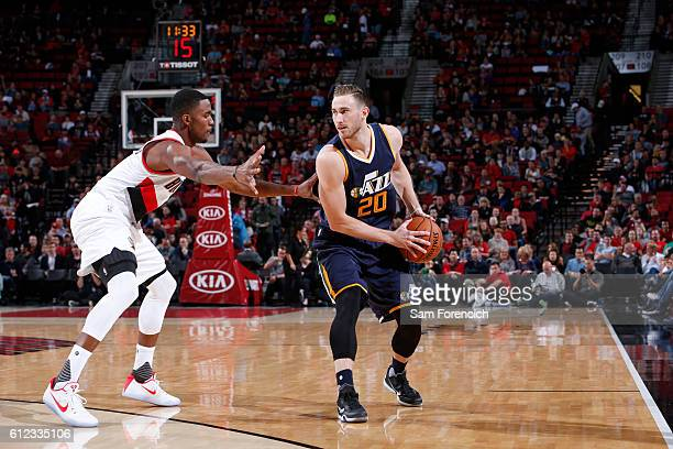 Gordon Hayward of the Utah Jazz handles the ball against the Portland Trail Blazers during a preseason game on October 3 2016 at the Moda Center in...