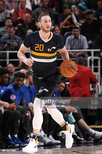 Gordon Hayward of the Utah Jazz handles the ball during a game against the Detroit Pistons on January 13 2017 at vivintSmartHome Arena in Salt Lake...