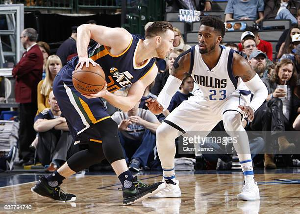 Gordon Hayward of the Utah Jazz handles the ball during the game against Wesley Matthews of the Dallas Mavericks on January 20 2017 at the American...