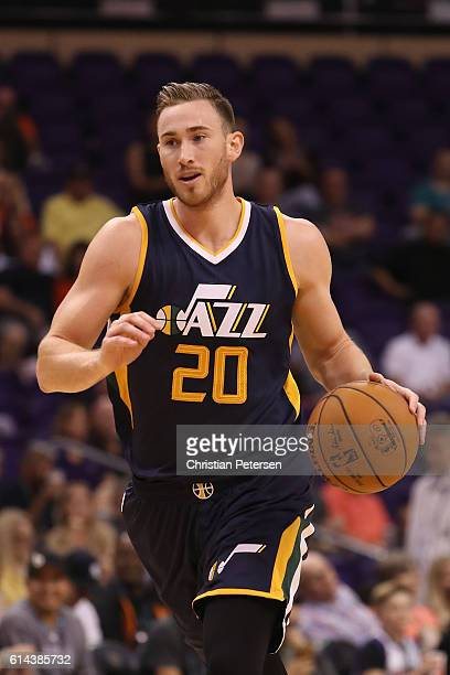 Gordon Hayward of the Utah Jazz handles the ball during the preseason NBA game against the Phoenix Suns at Talking Stick Resort Arena on October 5...