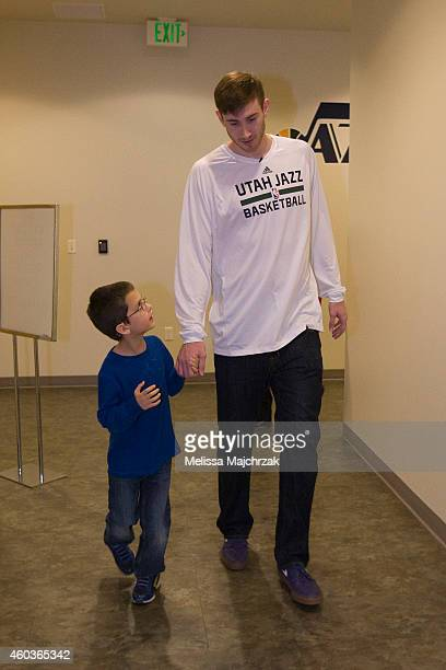 Gordon Hayward of the Utah Jazz host a holiday party for family's in need at Zions Bank Basketball Center on December 10 2014 in Salt Lake City Utah...