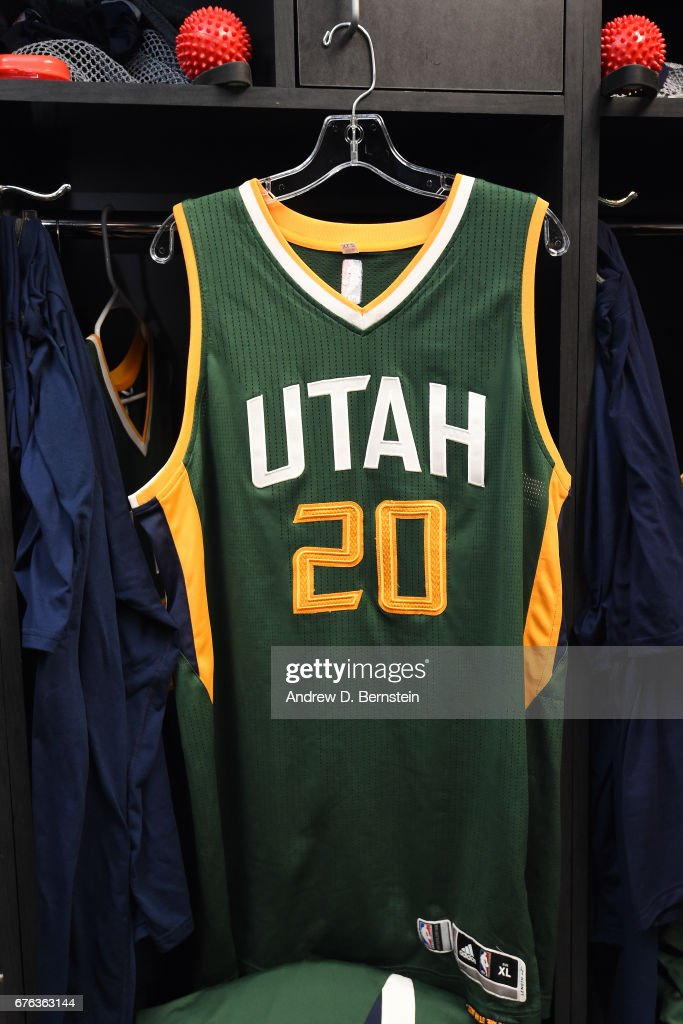 first rate acc9f fc11a Gordon Hayward of the Utah Jazz jersey is on display before ...