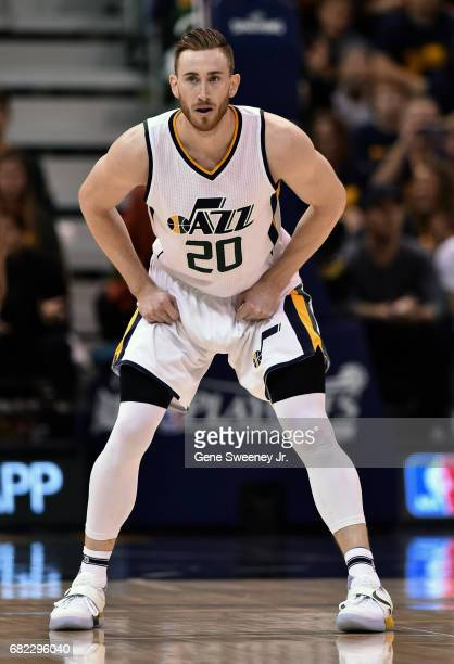 Gordon Hayward of the Utah Jazz looks down court against the Golden State Warriors in Game Three of the Western Conference Semifinals during the 2017...