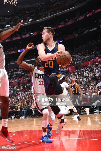 Gordon Hayward of the Utah Jazz looks to pass the ball against the LA Clippers during Game Two of the Western Conference Quarterfinals of the 2017...