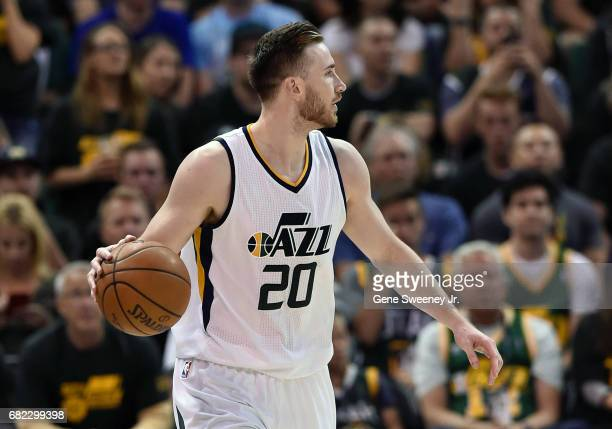 Gordon Hayward of the Utah Jazz looks to pass the ball against the Golden State Warriors in Game Three of the Western Conference Semifinals during...