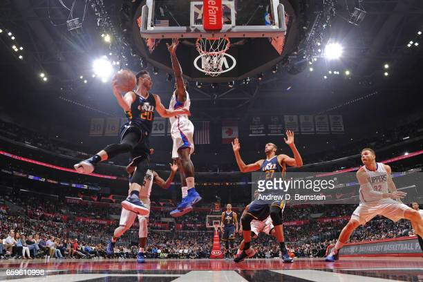 Gordon Hayward of the Utah Jazz passes the ball during a game against the LA Clippers on March 25 2017 at STAPLES Center in Los Angeles California...